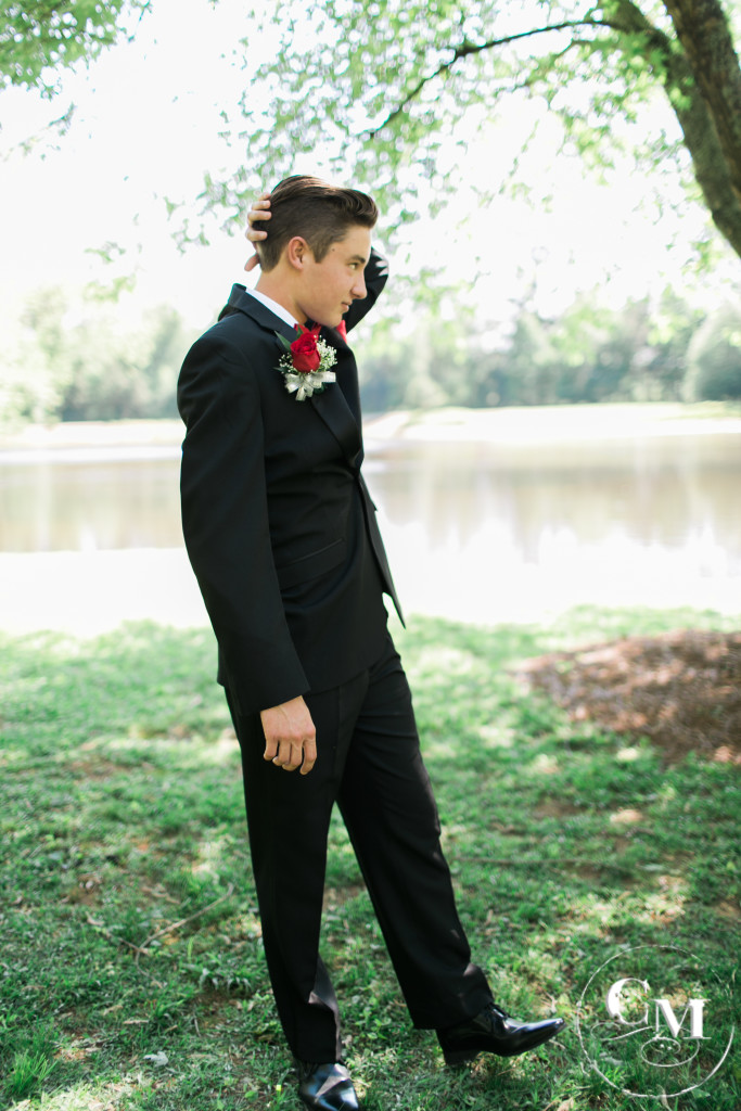 Prom night handsome-tux with red rose