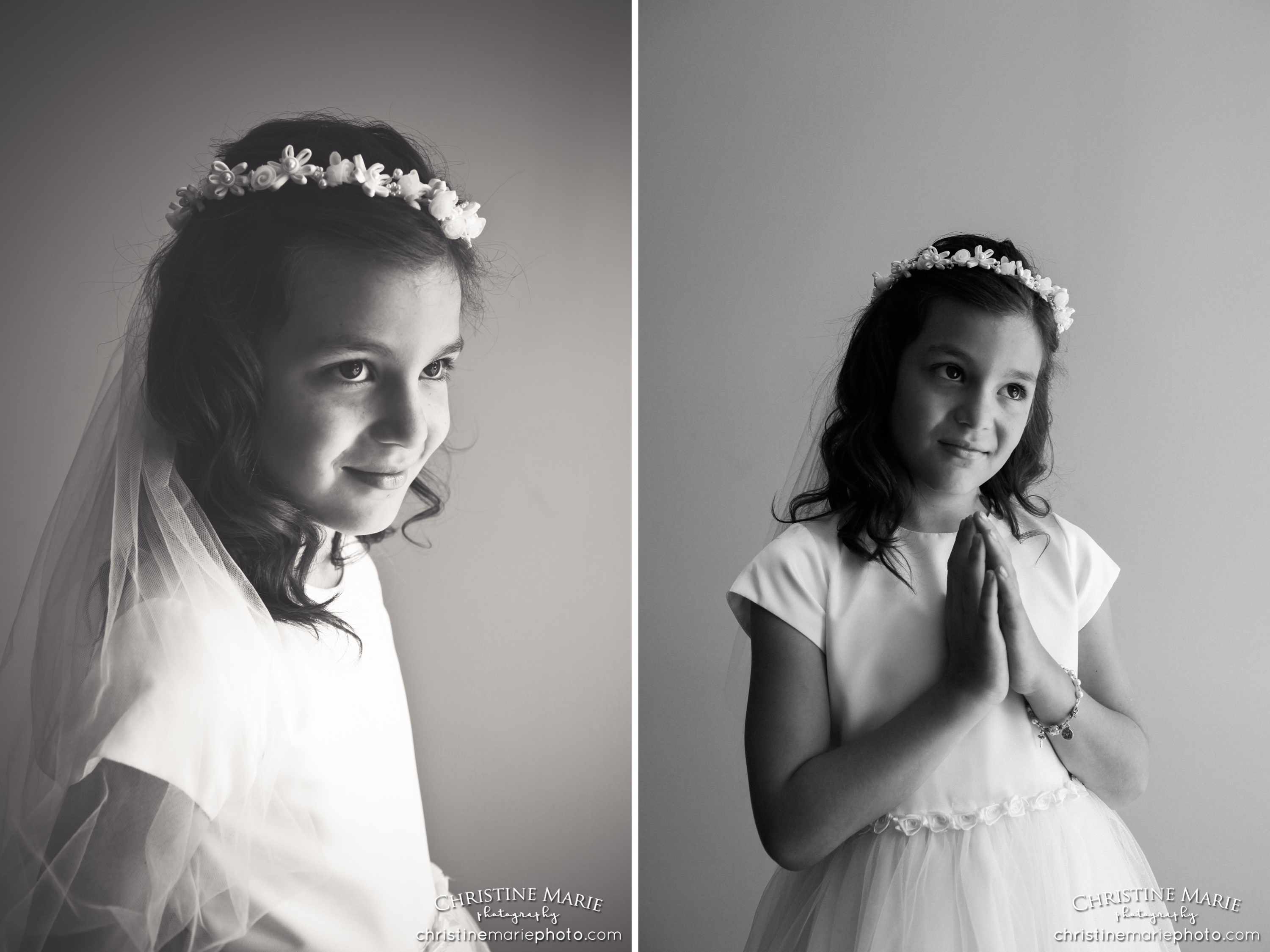 black and white first holy communion portrait