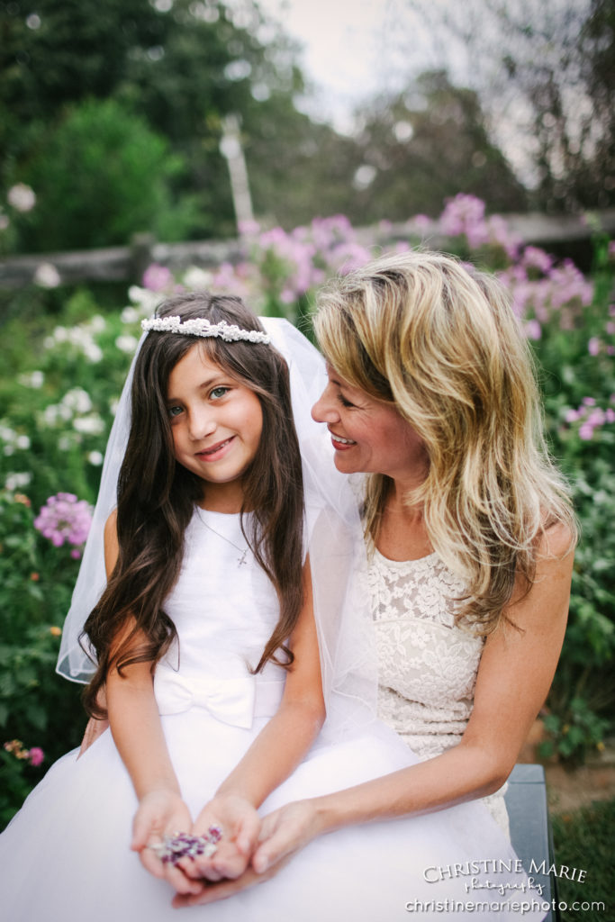 little girl with mom for first holy communion portrait