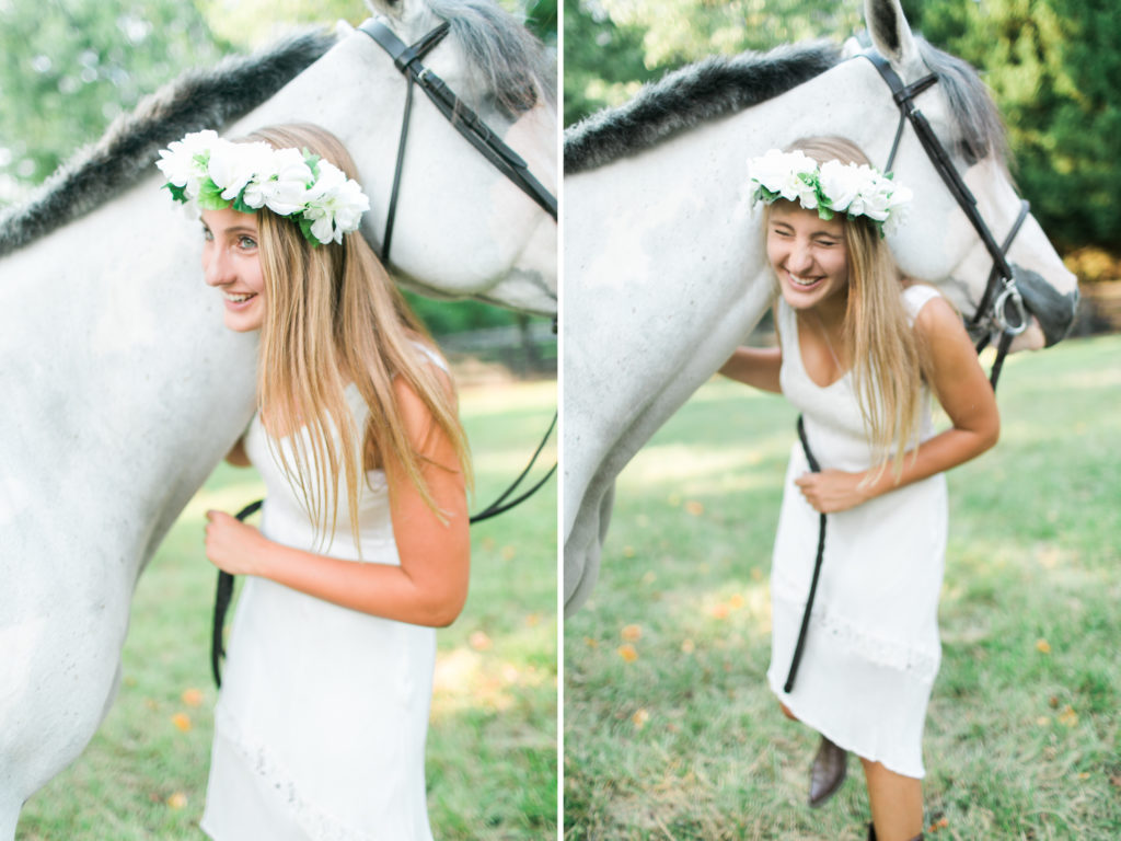 girl with flower crown and white horse