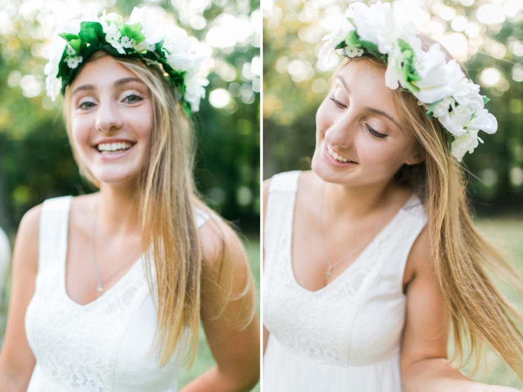 happy teenage girl with flower crown