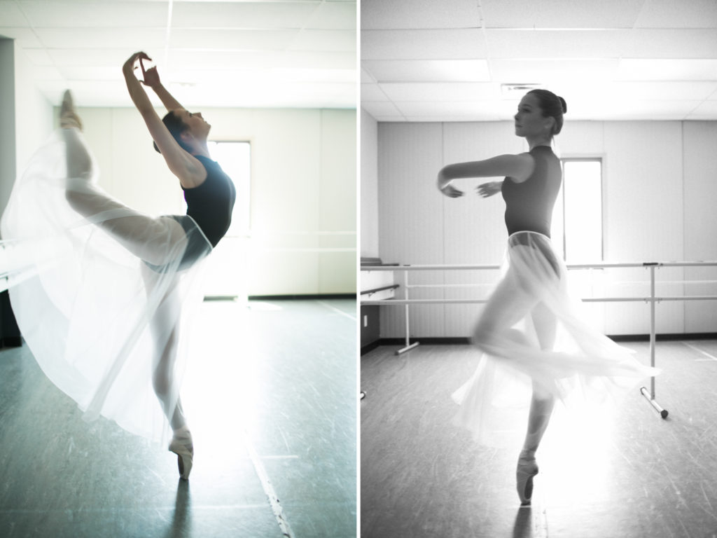 teenage ballerina dancing in studio senior photos