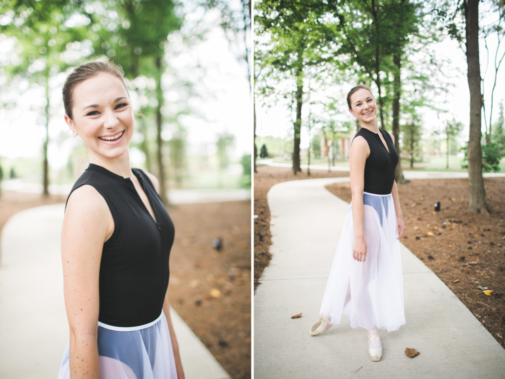 teenage ballerina outside senior portraits