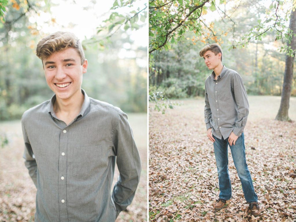 teenage boy senior photos in fall
