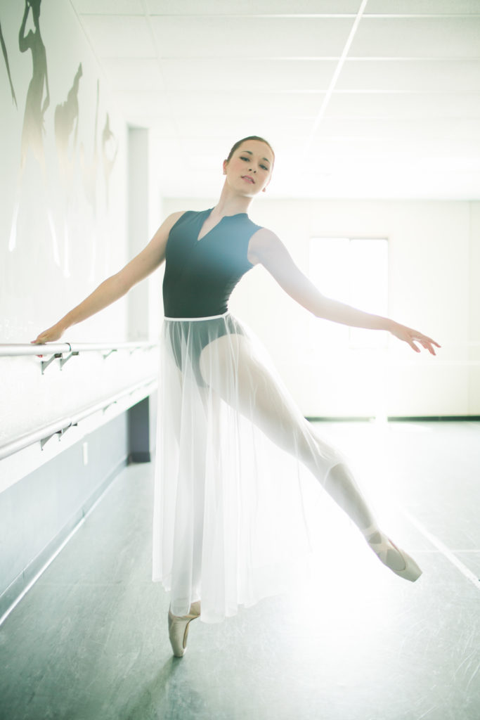 teenage ballerina in studio