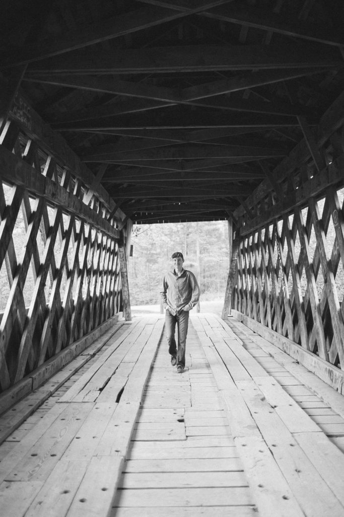 senior session on a bridge