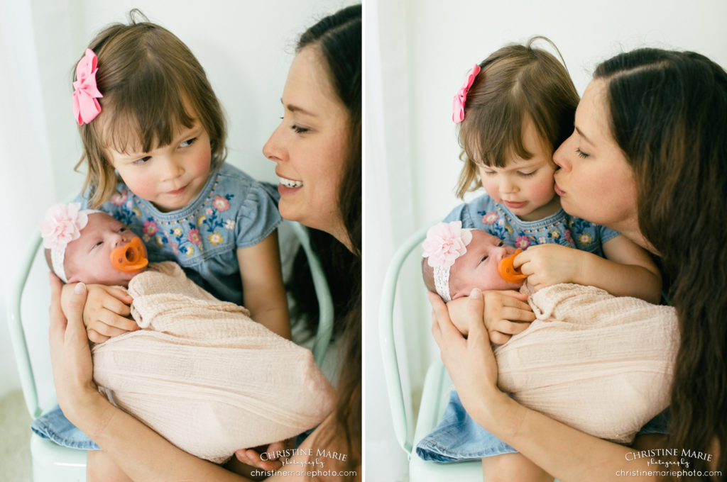 mother and daughters newborn and toddler