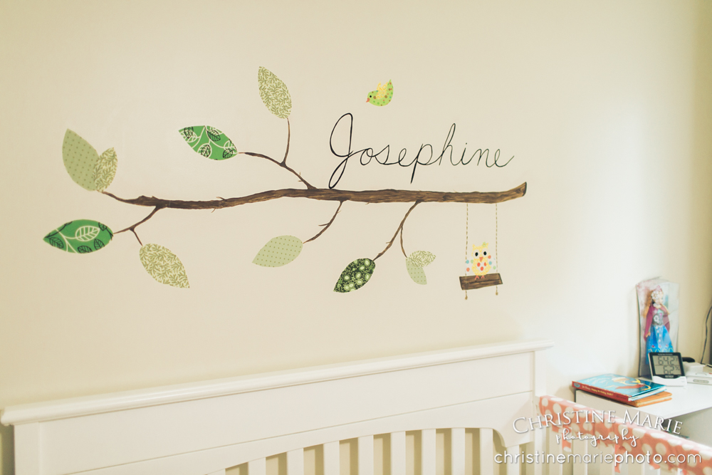 baby girl nursery with name on the wall