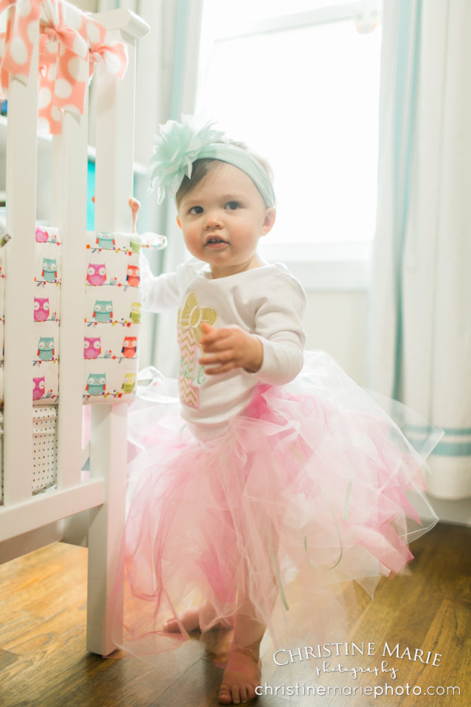 one year old baby girl in tutu