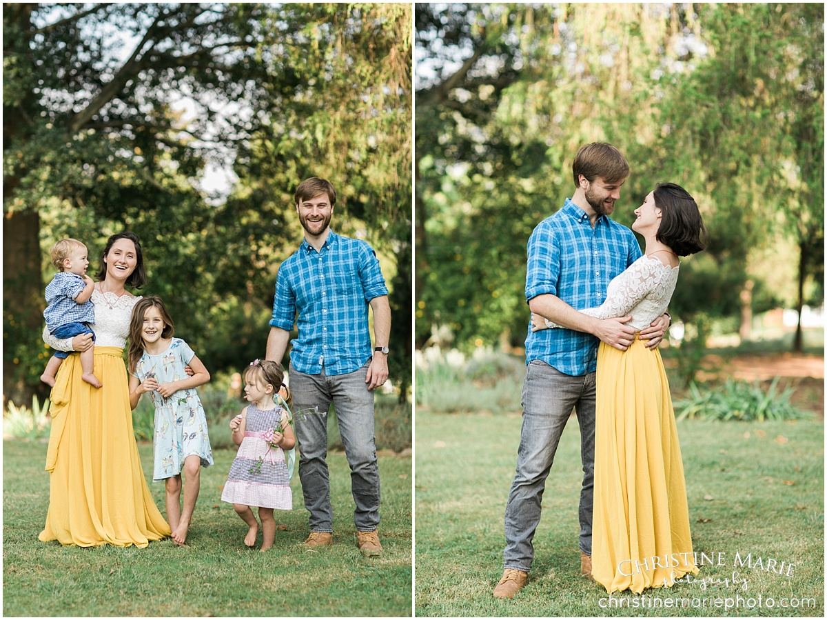 happy family of five outdoor natural photo