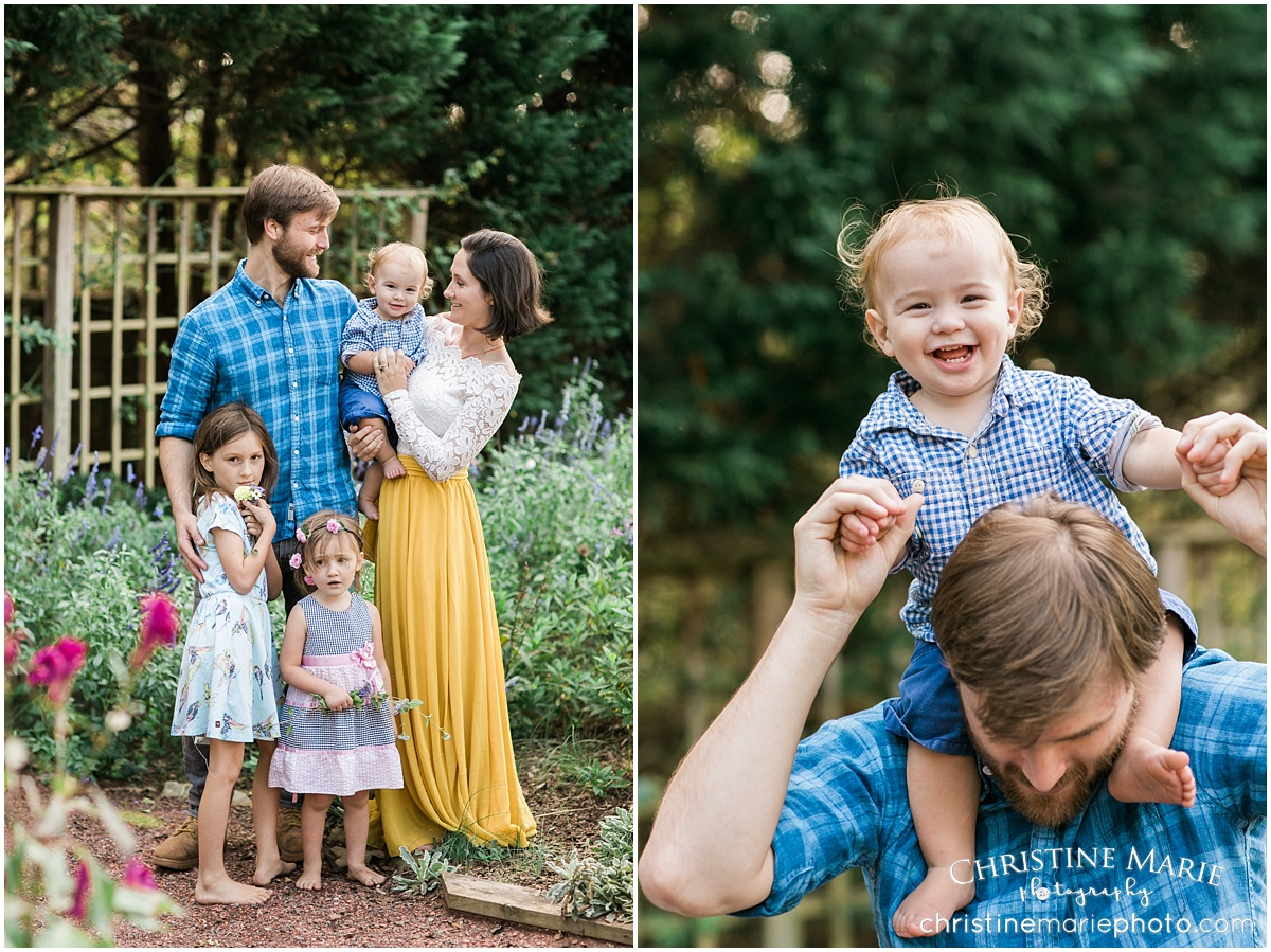 colorful garden family photo session