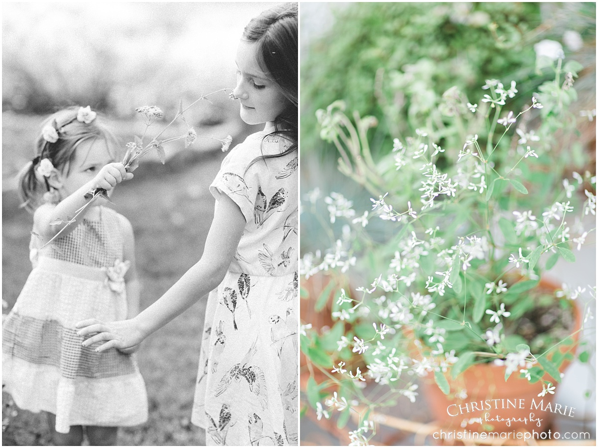 little girls with flowers photo