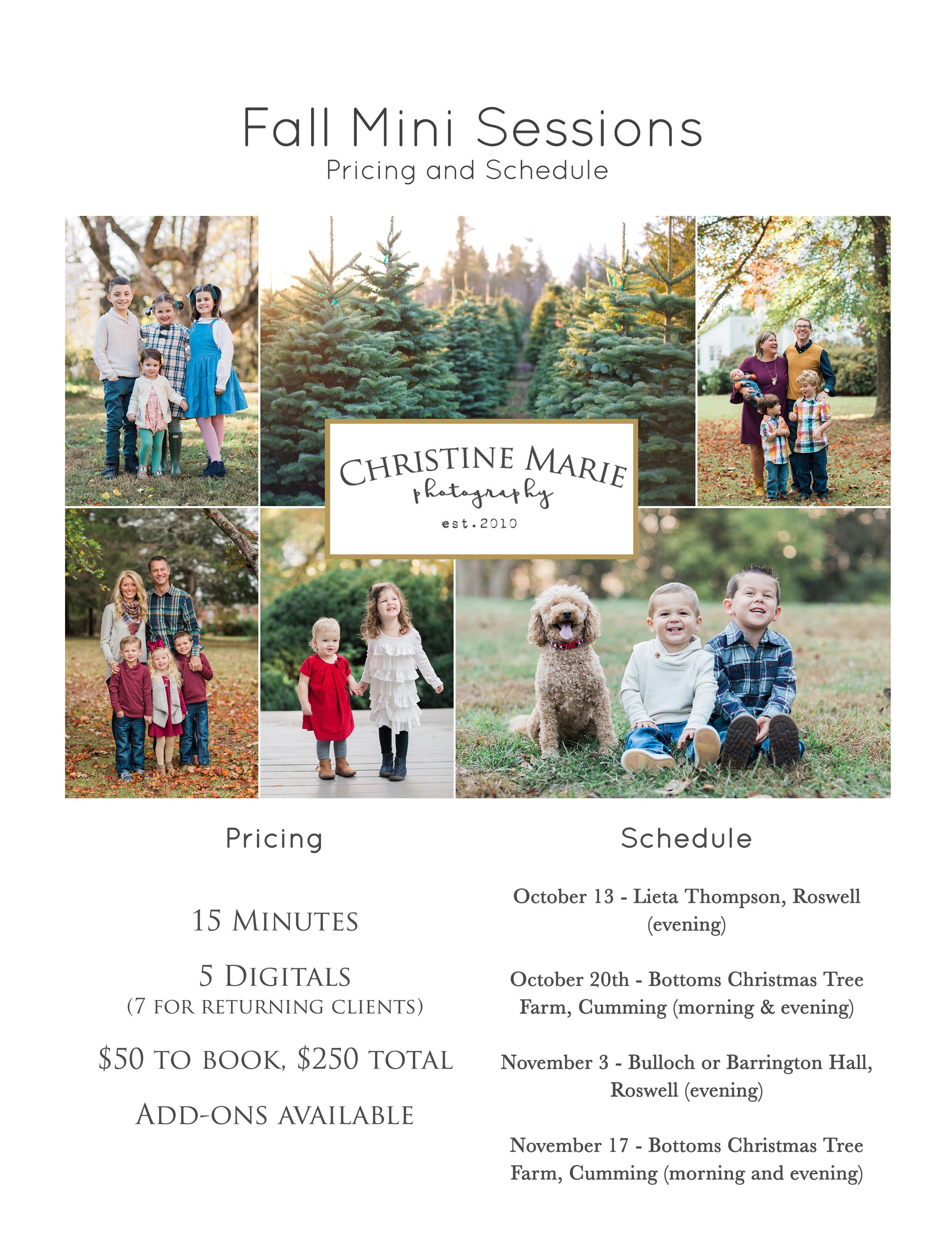Fall Mini Session Schedule Christmas Tree Minis Alpharetta Family Photographer
